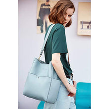 Load image into Gallery viewer, Bostanten Womens Leather Designer Handbags Tote Purses Shoulder Bucket Bags Light Blue