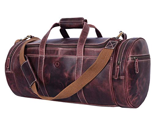 Full Grain Leather Travel Duffle Barrel Bag With Adjustable Straps Large Compartment Zippered Side Pockets Weekend Overnight Bag Walnut 20 Inch