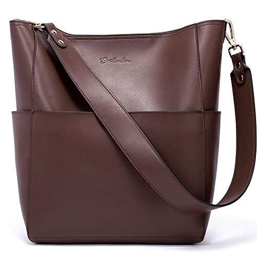 Bostanten Womens Leather Designer Handbags Tote Purses Shoulder Bucket Bags Coffee