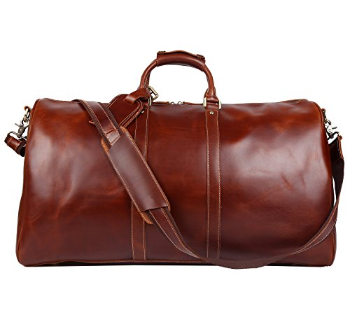 Polare 23 Duffle Retro Thick Cowhide Leather Weekender Travel Duffel Luggage Bagbrown