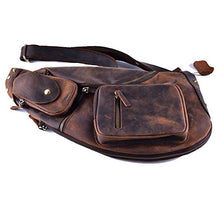 Load image into Gallery viewer, Cool Real Leather Cross Body Sling Bag Chest Bag Backpack Large