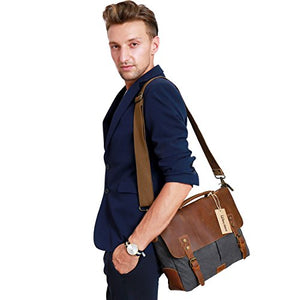 Messenger Satchel Bag, Vintage Canvas Real Leather 14-inch Laptop Briefcase for everday use