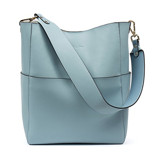 Bostanten Womens Leather Designer Handbags Tote Purses Shoulder Bucket Bags Light Blue