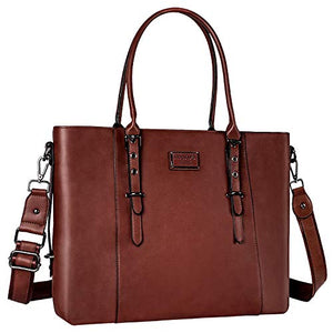 Mosiso Pu Leather Laptop Tote Bag For Women Up To 15 6 Inch Brown