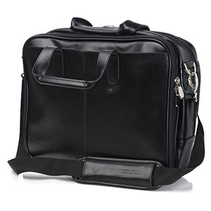 Alpine Swiss Monroe Leather Briefcase Top Zip Laptop Messenger Bag Black