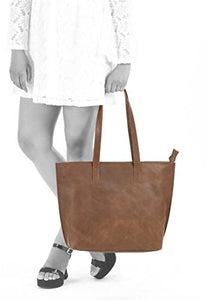 Women's Genuine Vintage Full GrainThick Buffalo Leather Tote Bag Purse