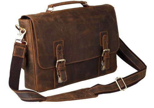 Peacechaos Mens Top Layer Real Cow Leather Shoulder Briefcase Attache 15.6 Inch Laptop Bag Tote