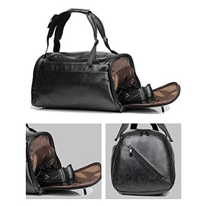Leather Duffel Bag Large Capacity Weekend Overnight Travel Gym Sport Luggage Tote For Men And Women By Your Brand Name Vintage Black