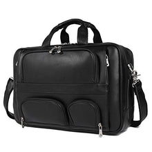 "Load image into Gallery viewer, Texbo Men's Genuine Leather Business Trip Briefcase Large Bag Fit 17"" Laptop"