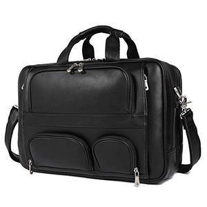 "Texbo Men's Genuine Leather Business Trip Briefcase Large Bag Fit 17"" Laptop"