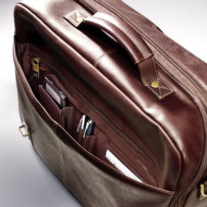 Samsonite Colombian Leather Flap Over Messenger Bag Brown