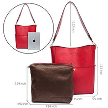 Load image into Gallery viewer, Bostanten Womens Leather Designer Handbags Tote Purses Shoulder Bucket Bags Red