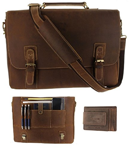 Viosi Mens Leather Messenger Bag 16 Inch Laptop Briefcase Shoulder Satchel Bag with RFID Money Clip