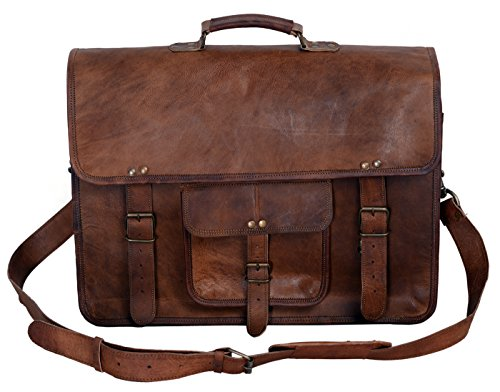 Kpl 18 Inch Vintage Mens Brown Handmade Leather Briefcase Best Laptop Messenger Bag Satchel