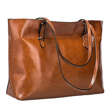 Load image into Gallery viewer, S-ZONE Women's Vintage Genuine Leather Tote Shoulder Bag Handbag Upgraded Version (Dark Brown)