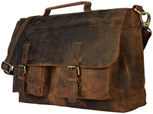 "Load image into Gallery viewer, kk's 18"" Inch Retro Buffalo Hunter Leather Laptop Messenger Bag Office Briefcase College Bag leather bag for men and women"