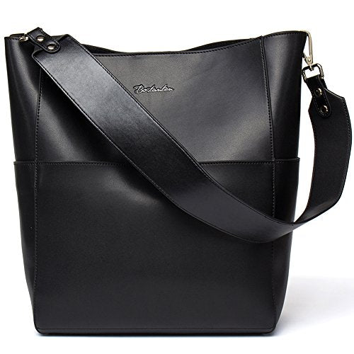 Bostanten Womens Leather Designer Handbags Tote Purses Shoulder Bucket Bags Black