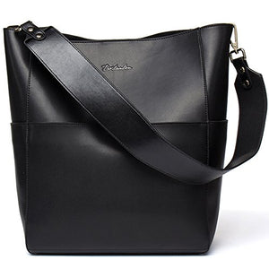 93c861dfffa9 BOSTANTEN Women s Leather Designer Handbags Tote Purses Shoulder Bucket Bags  Black