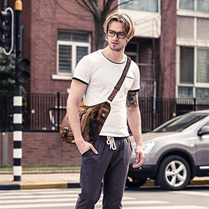 Mens Boys Vintage Canvas Shoulder Military Messenger Bag Sling School Bags Chest Military Leather Patchwork Messenger Bagkhaki Great Christmas Birthday Gift For Families And Friends