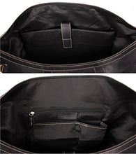 "Load image into Gallery viewer, Viosi Vintage Expandable Duffel Bag Leather Weekender Luggage Travel Bag [21"" Black]"