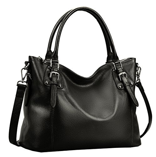 Heshe Womens Genuinne Leather Handbags Tote Top Handle Bag Shoulder Bag for Women Crossbody Bags Ladies Designer Purse (Medium, Black-NEW)