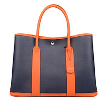 Load image into Gallery viewer, Ainifeel Womens Genuine Leather Top Handle Handbag Shopping Bag Tote Bag Dark Blue Orange