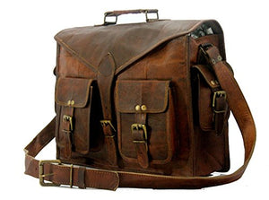 Handmade World Messenger Bag Leather Laptop Bags Computer Satchel Briefcase Unisex(15 Inch)