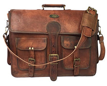 Load image into Gallery viewer, DHK 18 Inch Vintage Handmade Leather Messenger Bag for Laptop Briefcase Best Computer Satchel School distressed Bag