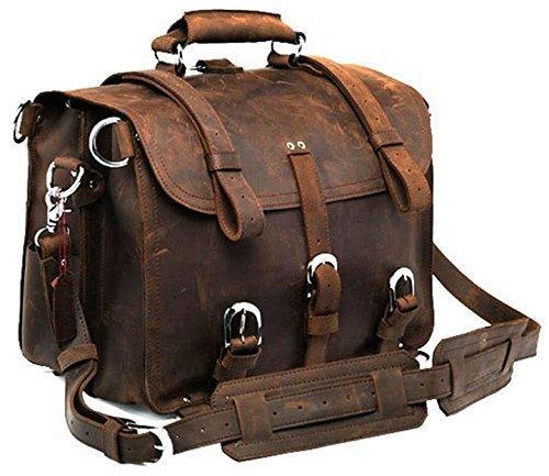 Polare Men's Full Grain Leather 16'' Briefcase Shoulder Messenger Bag Fit 15.6'' Laptop by Bagdepo