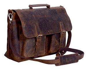 KomalC 18 Inch Retro Buffalo Hunter Leather Laptop Messenger Bag Office Briefcase College Bag for Men and Women