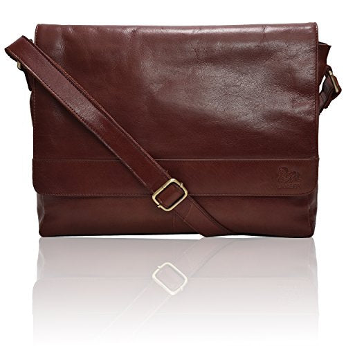 Leather Laptop Messenger Bag for men - Mens Office Briefcase Macbook Satchel Professional Side bags for men by Estalon (Cognac Wax)