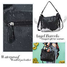 Load image into Gallery viewer, Angel Barcelo Roomy Fashion Hobo Womens Handbags Ladies Purse Satchel Shoulder Bags Tote Washed Leather Bag Black