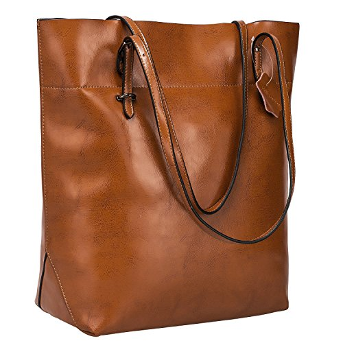 S-ZONE Vintage Genuine Split Leather Tote Shoulder Bag Handbag Big Large Capacity (Dark Brown)