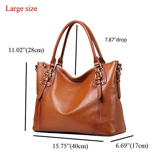 b0a99ff50b ... Kattee Women s Vintage Genuine Soft Leather Tote Shoulder Bag (Sorrel