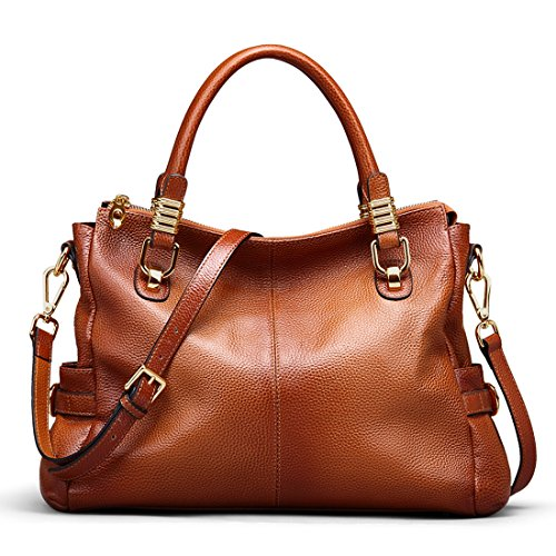 Ainimoer Womens Genuine Leather Vintage Tote Shoulder Bag Top Handle Crossbody Handbags Large Capacity Ladies Purse Sorrel