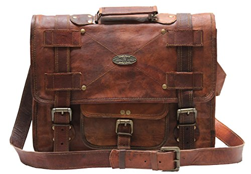 Leather Bag Messenger Satchel Style for Laptop Distressed Bag  15