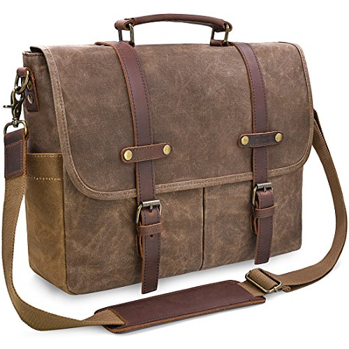 Messenger Bag 15.6 inch Waterproof Vintage Genuine Leather Waxed Canvas Briefcase Large Satchel Shoulder Laptop Bag, Brown