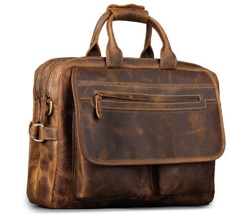 "Kattee Men's Leather Durable Briefcase, 16"" Laptop Bag"