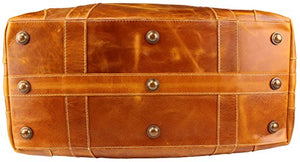 "Viosi Vintage Expandable Duffel Bag Leather Weekender Luggage Travel Bag [21"" Tan]"