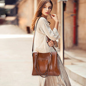 S Zone Women Genuine Leather Top Handle Satchel Daily Work Tote Shoulder Bag Large Capacity Dark Brown