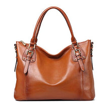Load image into Gallery viewer, Kattee Women's Vintage Genuine Soft Leather Tote Shoulder Bag (Sorrel, Small)