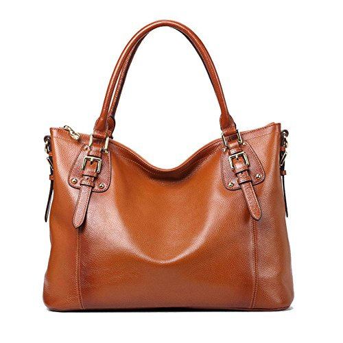 Kattee Women's Vintage Genuine Soft Leather Tote Shoulder Bag (Sorrel, Small)