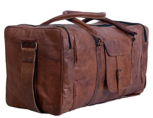 Komal's Passion Leather 24 Inch Square Duffel Travel Gym Sports Overnight Weekend Leather Bag