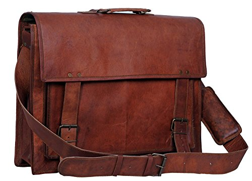 Komals Passion Leather 18 Inch Retro Leather Briefcase Laptop Messenger Bag