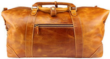 "Load image into Gallery viewer, Viosi Vintage Expandable Duffel Bag Leather Weekender Luggage Travel Bag [21"" Tan]"