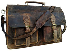 Load image into Gallery viewer, Cuero 15 Inch Retro Buffalo Hunter Leather Laptop Messenger Bag Office Briefcase College Bag
