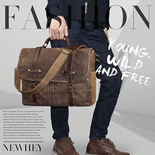 Load image into Gallery viewer, Mens Messenger Bag 15 6 Inch Waterproof Vintage Genuine Leather Waxed Canvas Briefcase Large Satchel Shoulder Bag Rugged Leather Computer Laptop Bag Brown