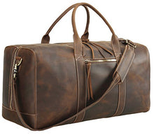 Load image into Gallery viewer, Polare Mens Genuine Leather Duffel Bag Overnight Travel Duffle Weekender Bag 23.2''