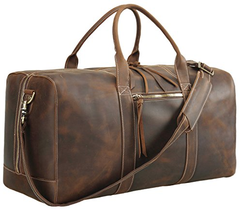 Polare Mens Genuine Leather Duffel Bag Overnight Travel Duffle Weekender Bag 23.2''
