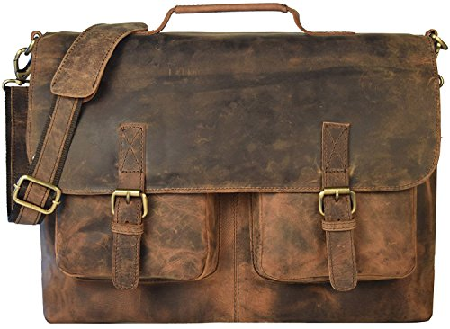 "kk's 18"" Inch Retro Buffalo Hunter Leather Laptop Messenger Bag Office Briefcase College Bag leather bag for men and women"